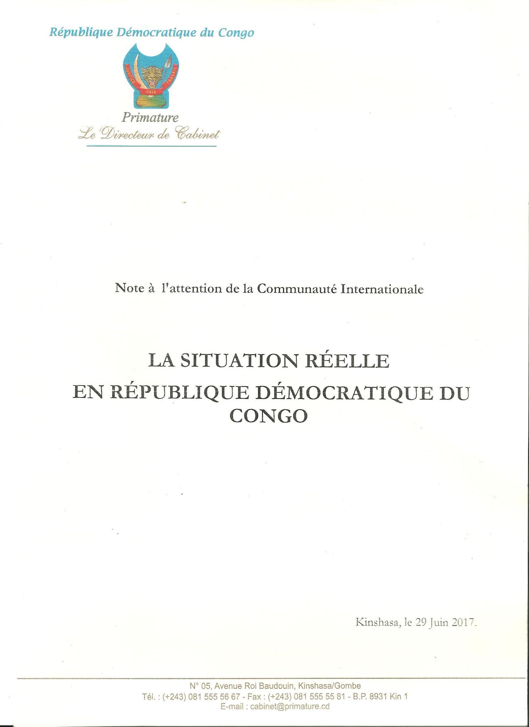 Situation Réelle en RDC – Primature – @Zoom_eco