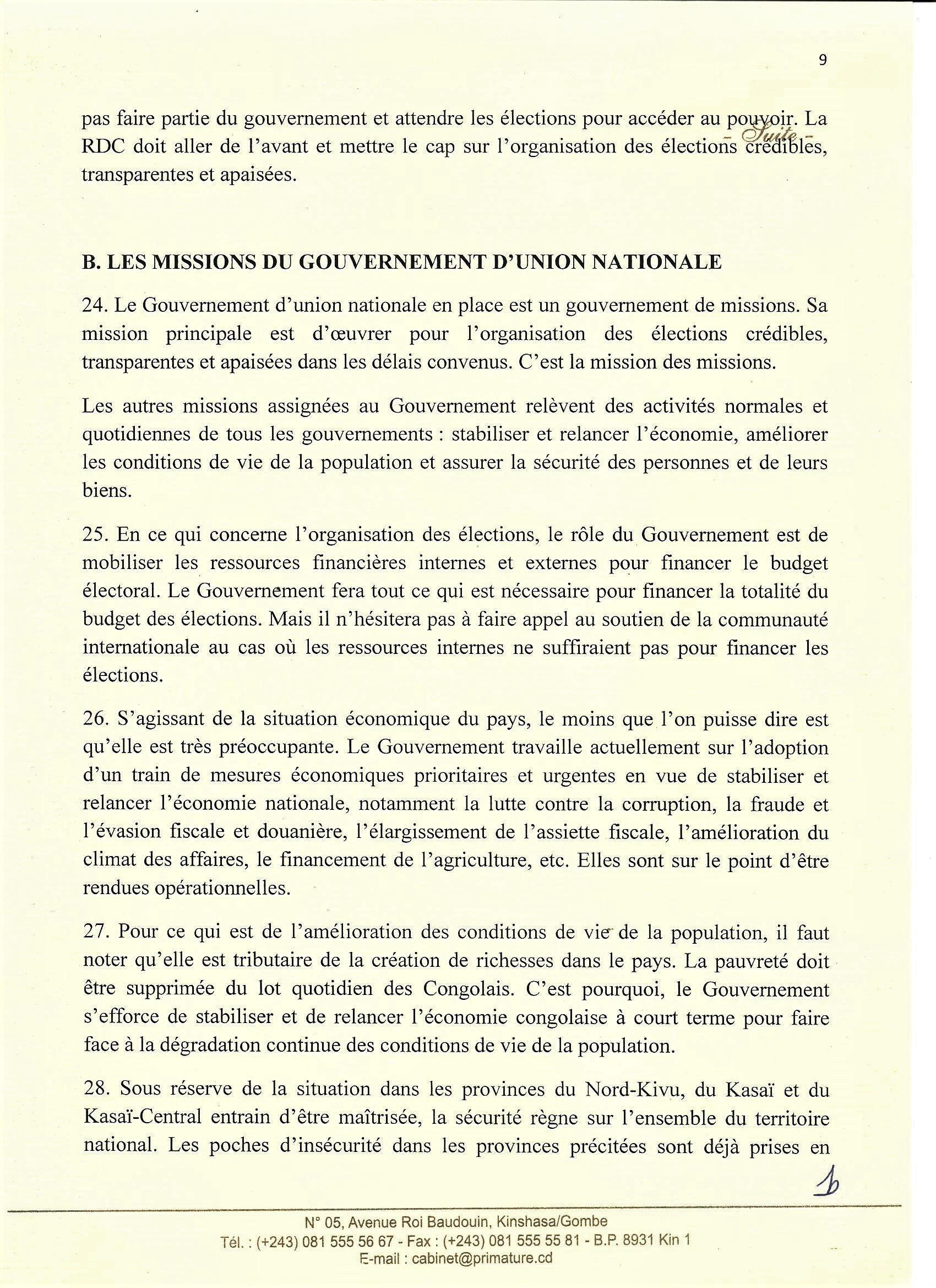 Situation Réelle en RDC – Primature -p9 @Zoom_eco