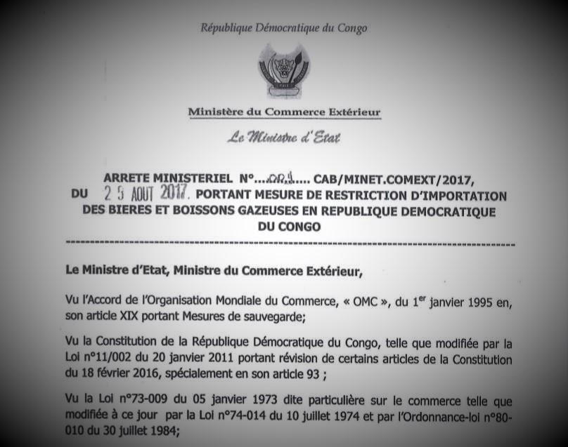 RDC : Le Gouvernement suspend toute importation des bières et boissons gazeuses