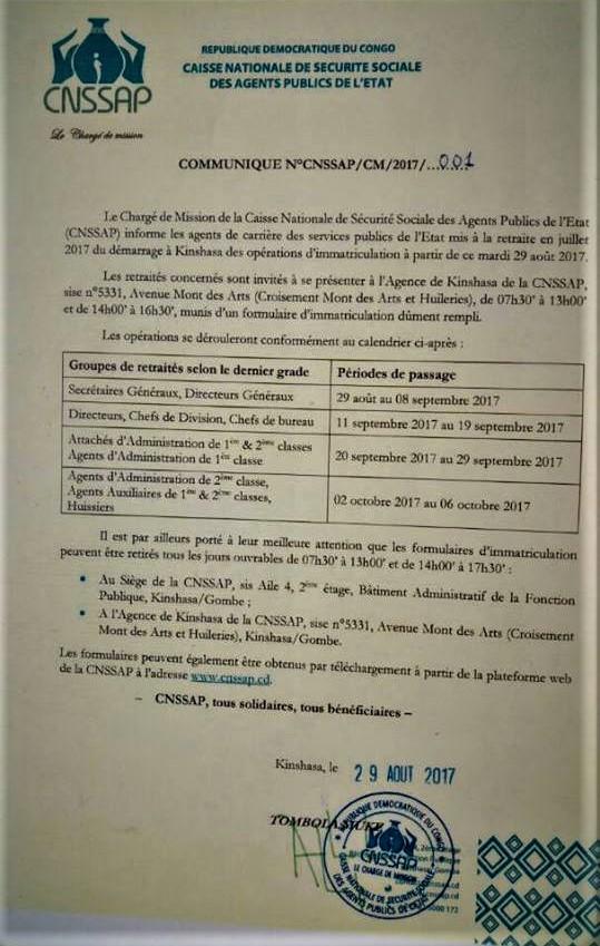 Communiqué CNSSAP