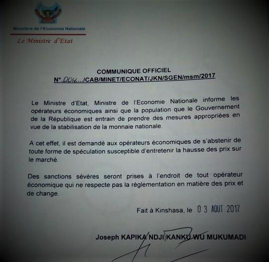 RDC : La mise en garde du Gouvernement contre la spéculation des prix et de change [Officiel]