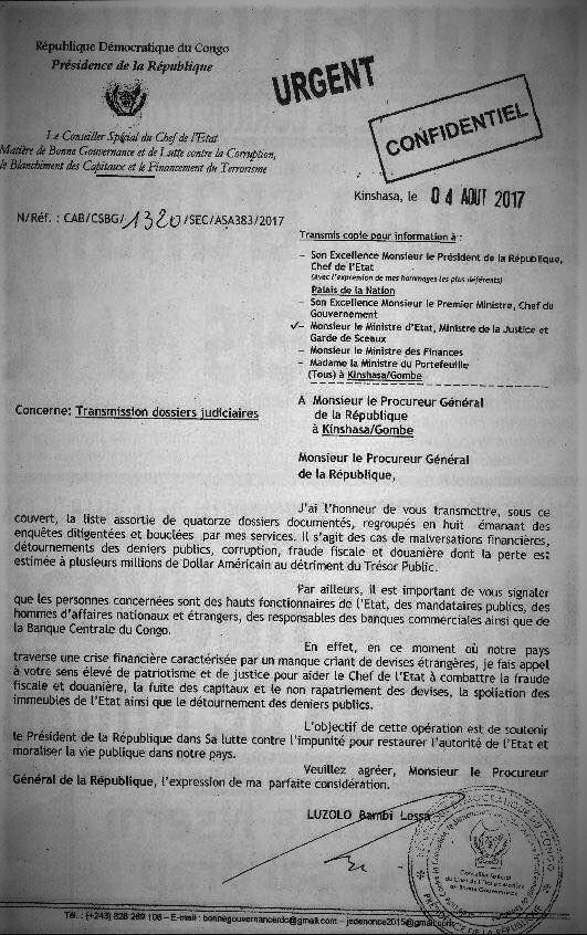 Lettre de transmission Luzolo