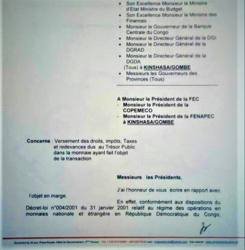 Lettre MinEco sur la Fiscalité en CDF et USD p1 @Zoom_eco – Copie