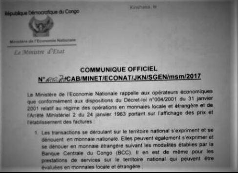 RDC : Affichage de prix et délivrance de factures autorisés en CDF et USD !