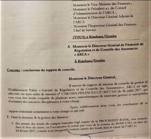 RDC: ARCA, le Rapport de contrôle révélateur de la mégestion!