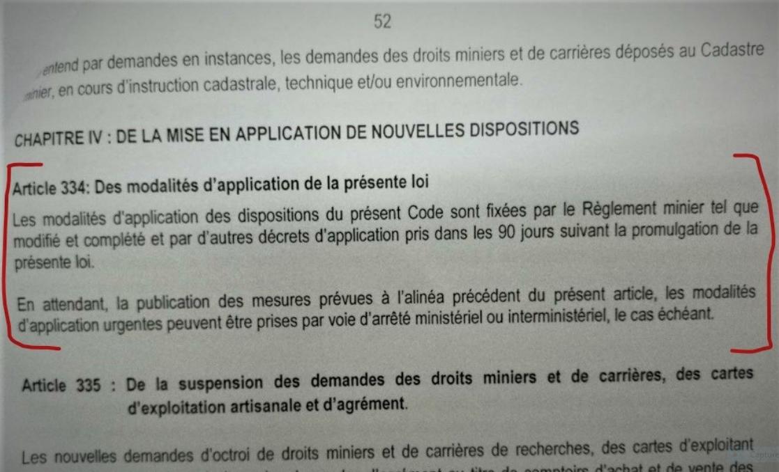 RDC: «Règlement minier», l'article 334 du nouveau Code le prévoit! 1