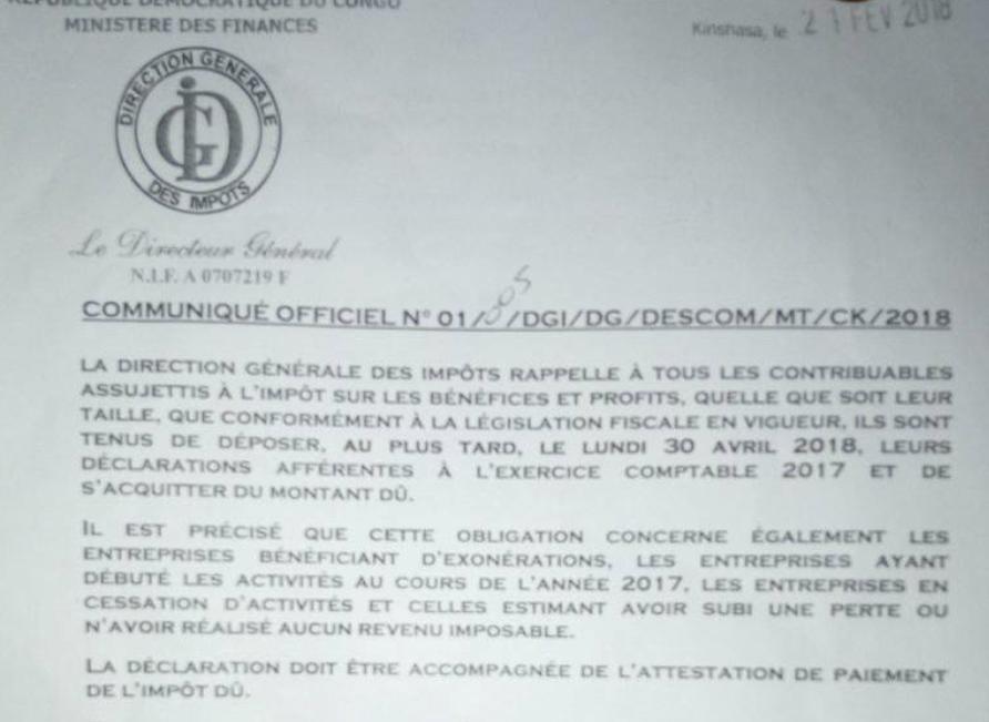 RDC: la DGI rappelle l'échéance fiscale du 30 avril pour l'impôt sur les bénéfices 1