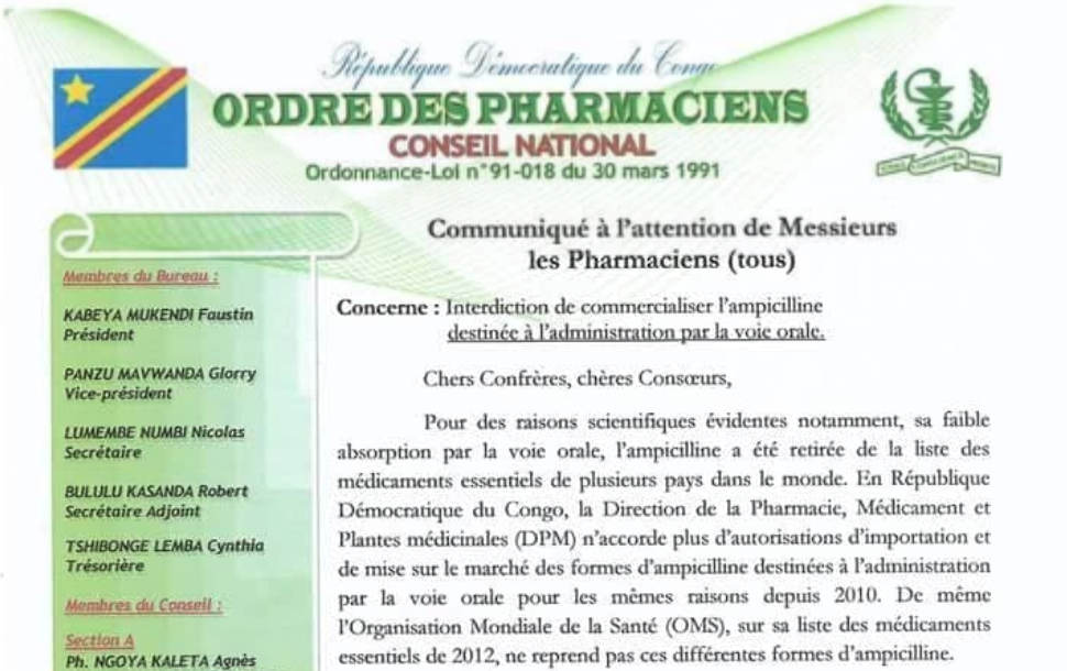 RDC : Interdiction de vente de l'ampicilline administrée par voie orale ! 1