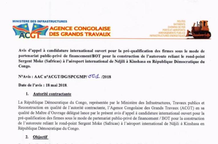 ACGT : avis d'appel à candidature international n°ACGT/DG/SPCGMP/001/2018 1