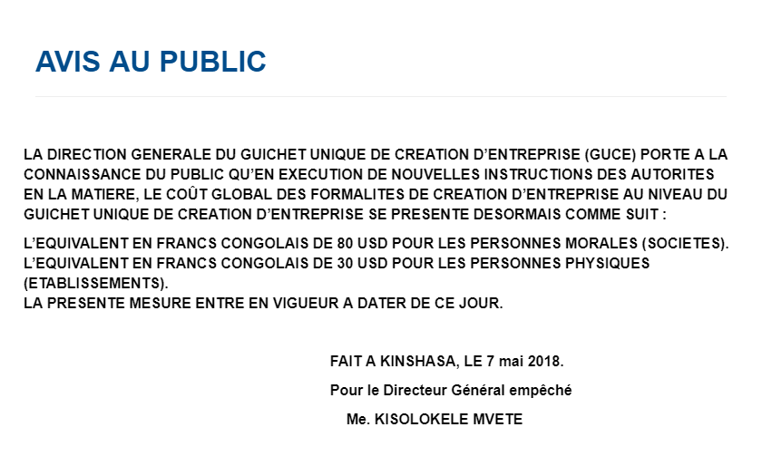 RDC : création d'entreprises, les coûts des formalités revus à la baisse ! 2