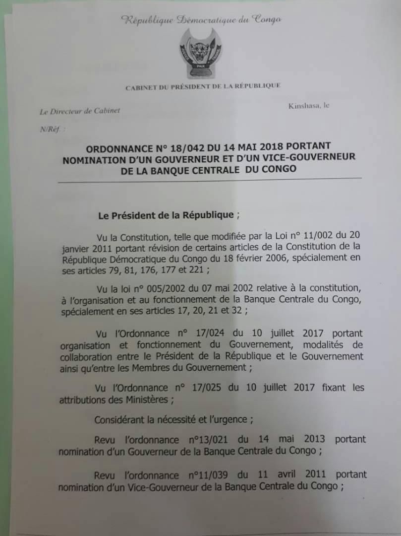 Ordonnance portant nomination BCC