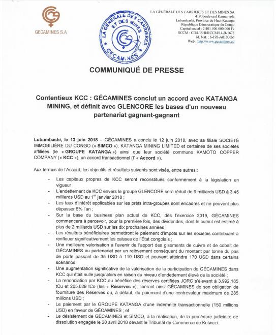 RDC : l'accord transactionnel Gécamines - Katanga Mining en dix points 2