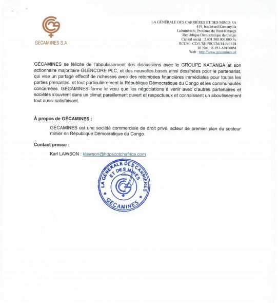 RDC : l'accord transactionnel Gécamines - Katanga Mining en dix points 3