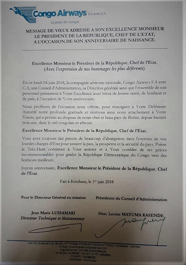 Congo Airways Message