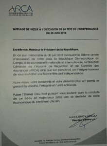 RDC : fête de l'indépendance, message de vœux de l'ARCA au Président de la République 2