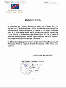 RDC: le ministère des Finances dénonce un faux compte Facebook attribué à Henri Yav Mulang 2