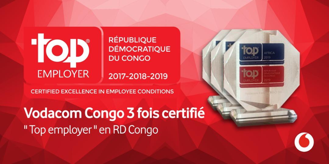 RDC : Vodacom troisième fois primée «Top Employer» 1