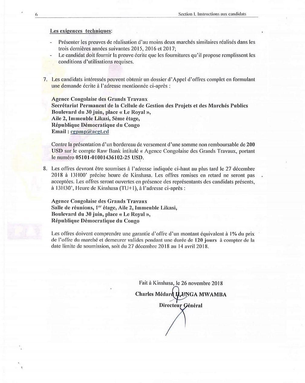 RDC : l'Agence congolaise des grands travaux lance un nouvel Avis d'appel d'offres 3