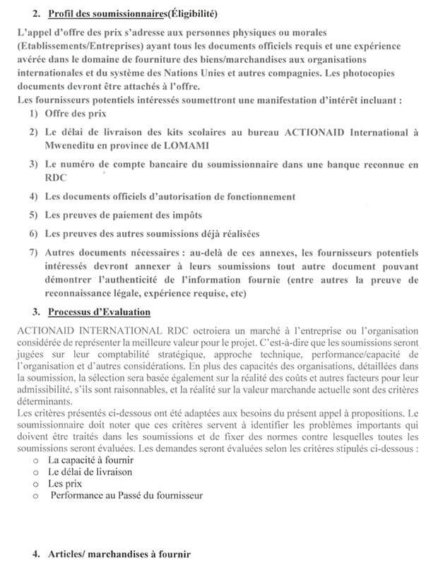 Appel d'offres : fourniture de kits entrée et sortie Enfants non accompagnés et enfants sortis des Milices 3