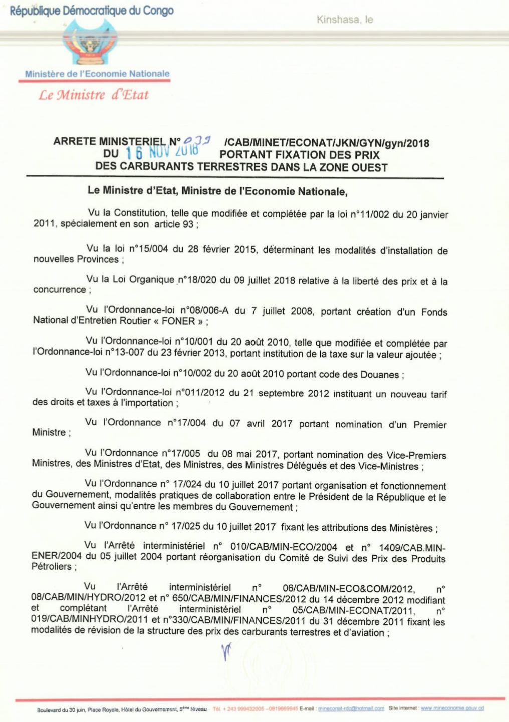 RDC : carburant, hausse du prix du litre de 130 CDF dès ce dimanche (document) 2