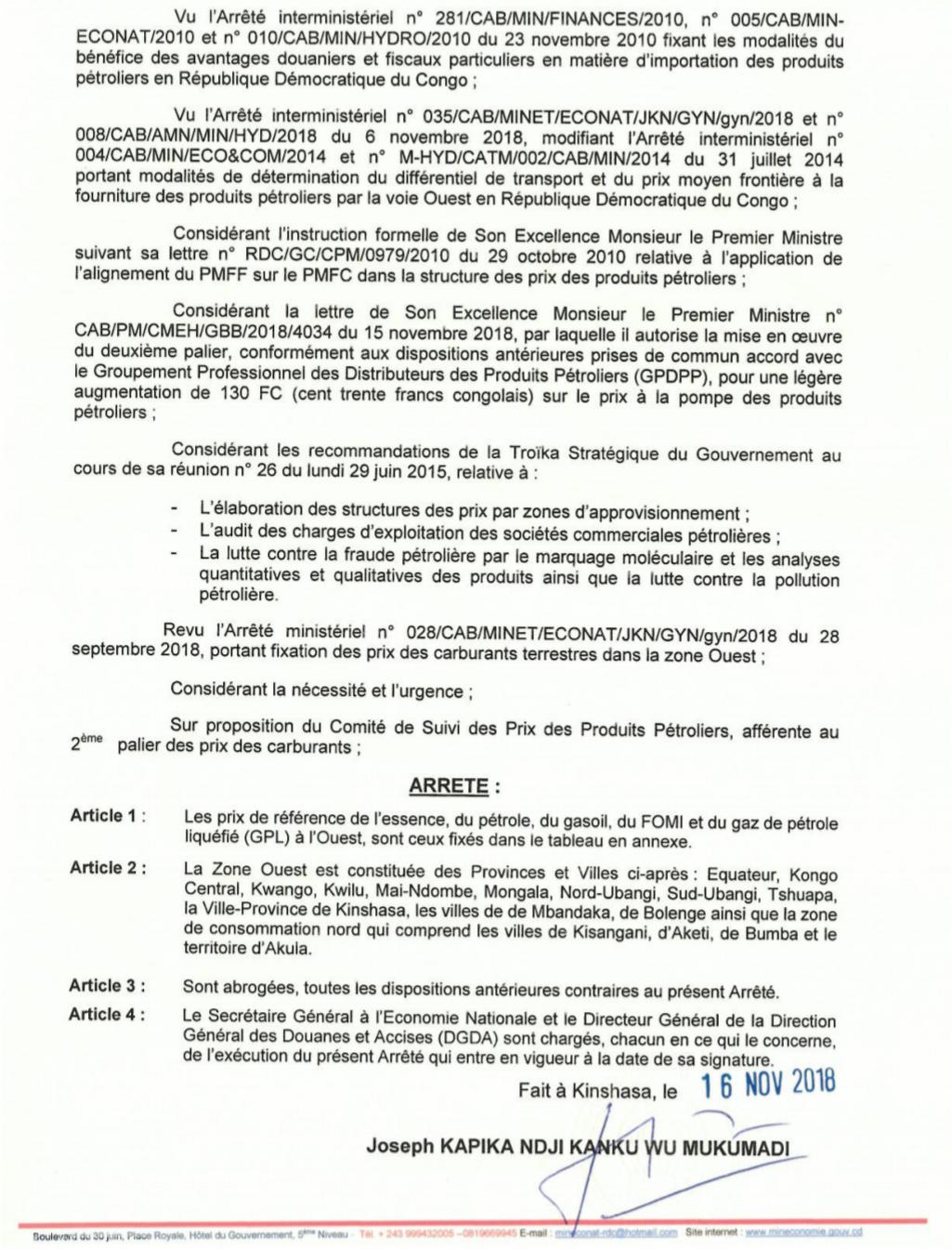 RDC : carburant, hausse du prix du litre de 130 CDF dès ce dimanche (document) 3