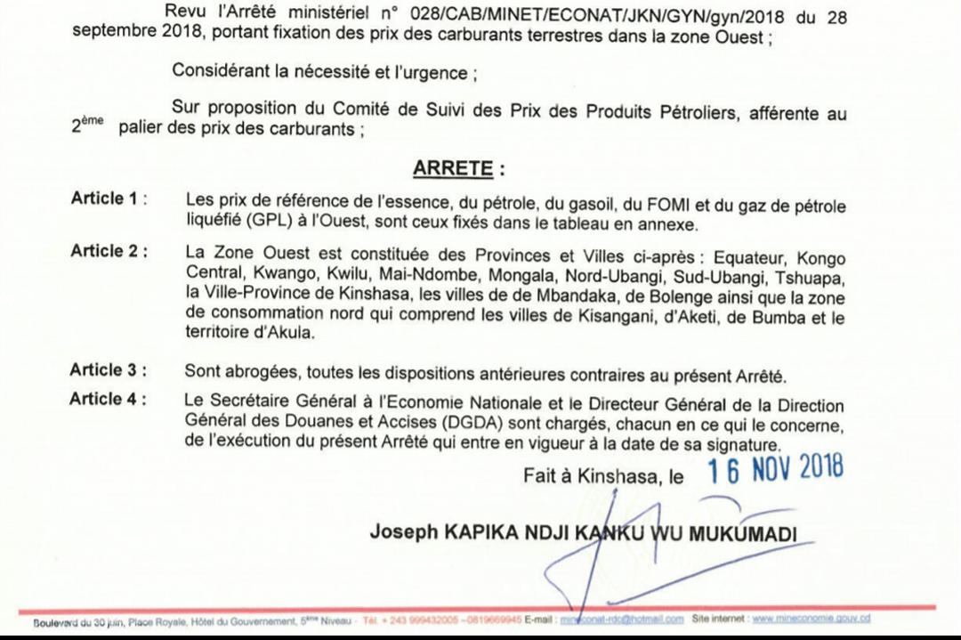 RDC : carburant, hausse du prix du litre de 130 CDF dès ce dimanche (document) 1