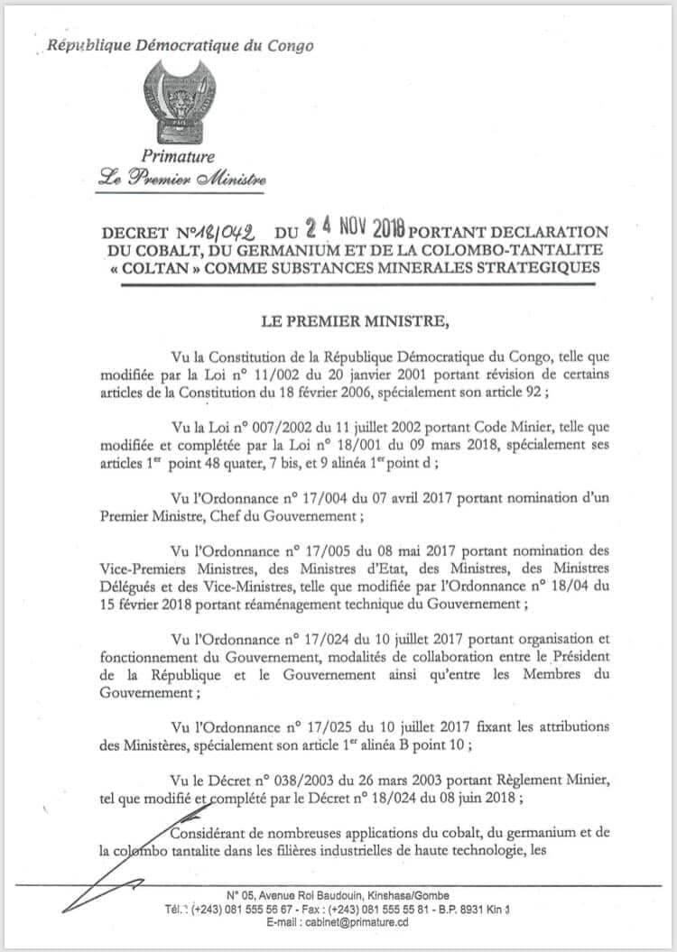 RDC : Cobalt, germanium et coltan déclarés substances stratégiques ! 2