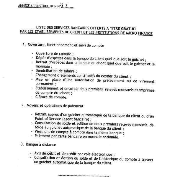RDC: la banque centrale rend gratuits quinze services bancaires 2