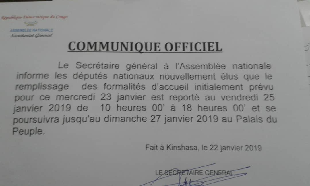 RDC : l'accueil des élus reporté de 48 heures à l'Assemblée nationale 1