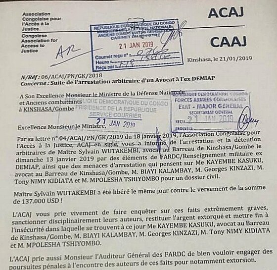 RDC : un avocat victime de détention arbitraire et d'extorsion de 137 000 USD 1