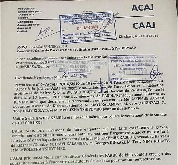RDC : un avocat victime de détention arbitraire et d'extorsion de 137 000 USD 1