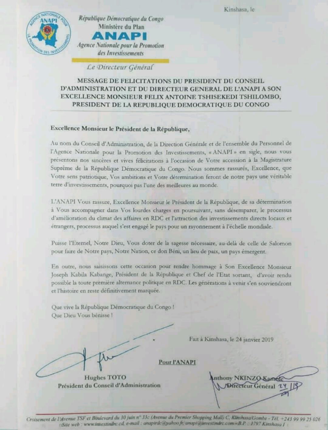 RDC : l'ANAPI adresse ses félicitations à Félix Tshisekedi ! 2