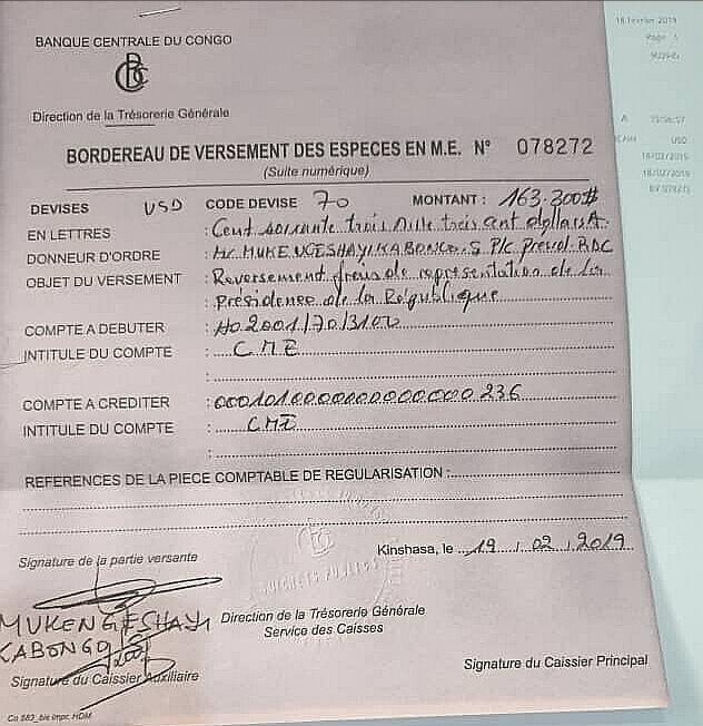 RDC : Tshisekedi reverse 163 300 USD au Trésor public [documents] 1