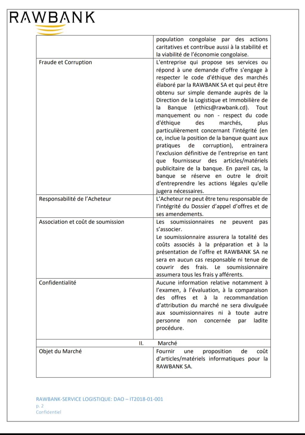 """RDC : Rawbank lance un appel d'offre pour """"articles et matériels informatiques"""" 3"""