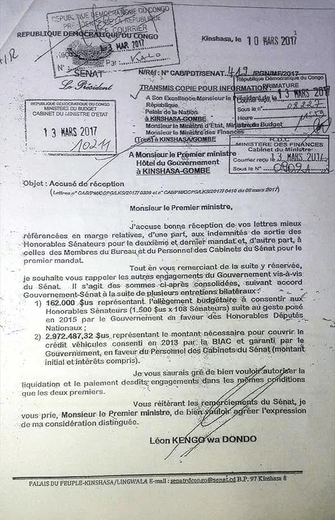RDC : trois millions de dollars détournés au Sénat ? 2