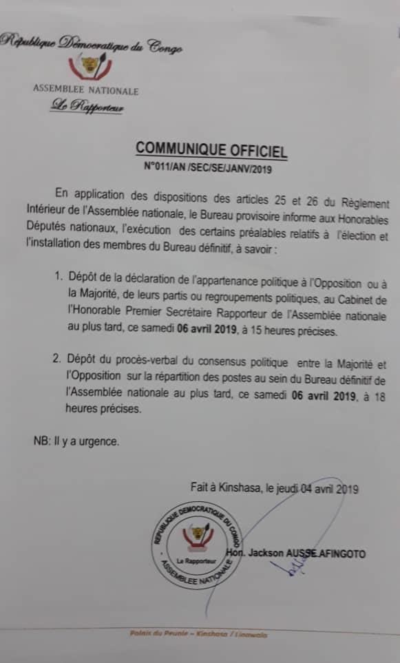 RDC : Assemblée nationale, le calendrier de l'élection de membres du bureau définitif recalé ! 1