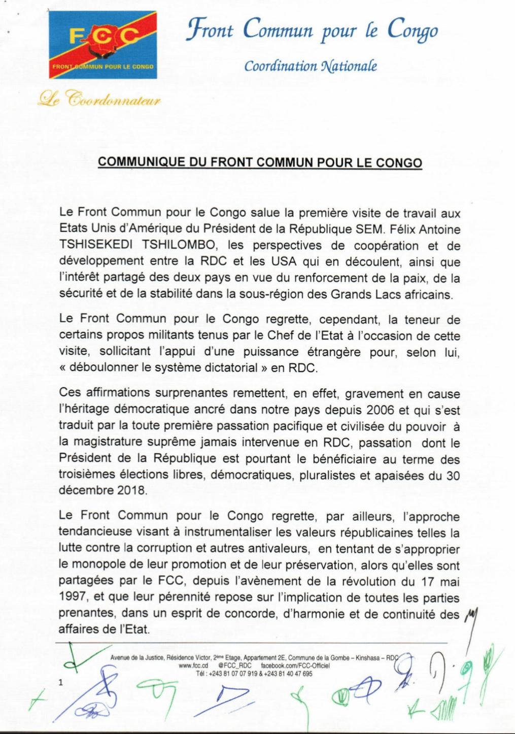 RDC : FCC contre la gestion des fonds publics au mépris des lois ! 2