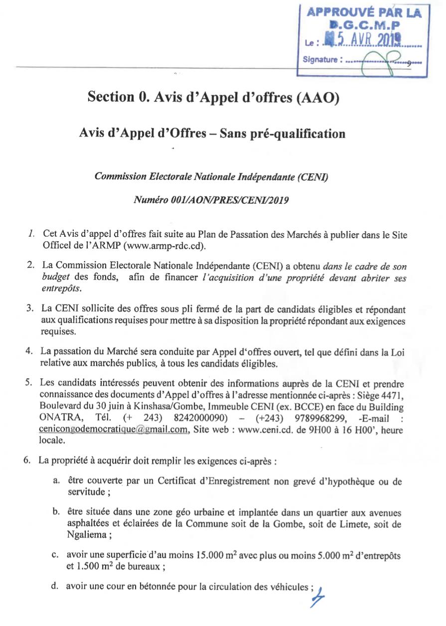 Kinshasa : appel d'offres, CENI veut acquérir une propriété de 15 000m2 2