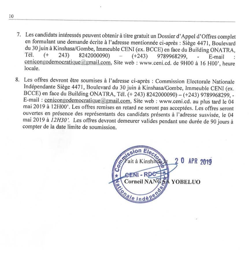 Kinshasa : appel d'offres, CENI veut acquérir une propriété de 15 000m2 3