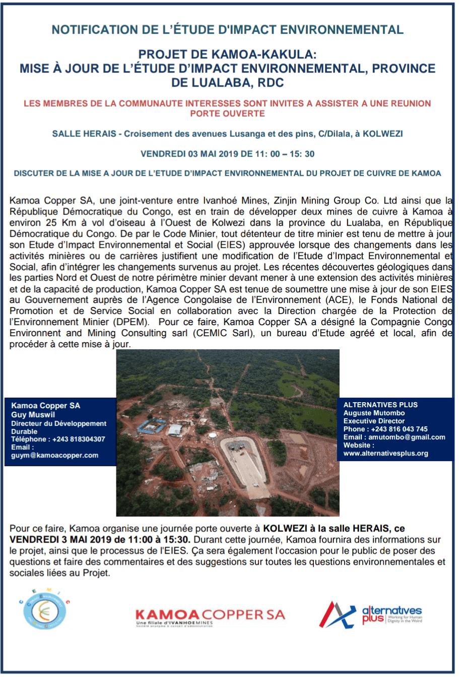 RDC : Kamoa, journée portes ouvertes sur l'impact environnemental ce 3 mai 2019 2
