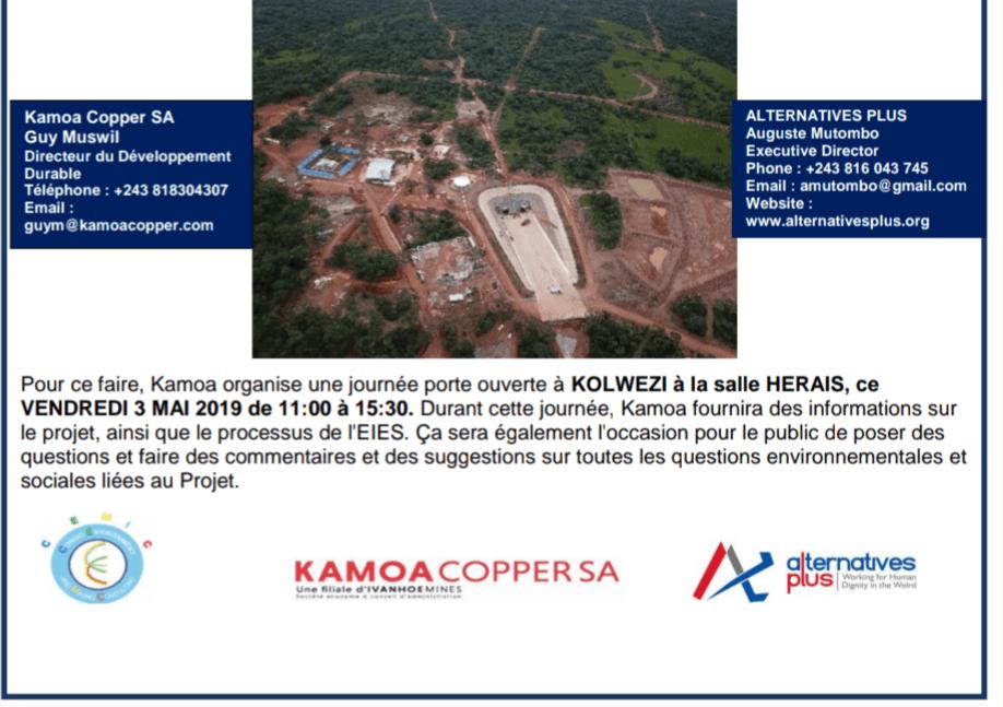 RDC : Kamoa, journée portes ouvertes sur l'impact environnemental ce 3 mai 2019 1