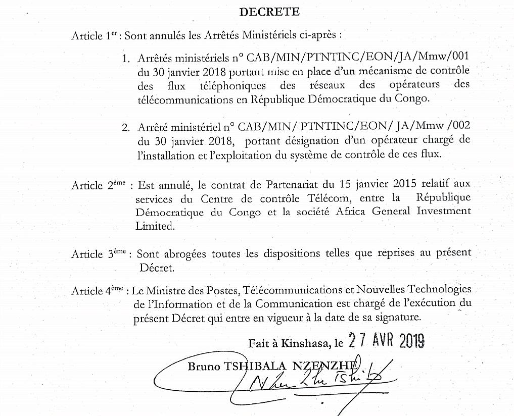 RDC : Tshibala annule le contrat «léonin» AGI sur le contrôle des flux téléphoniques ! 1