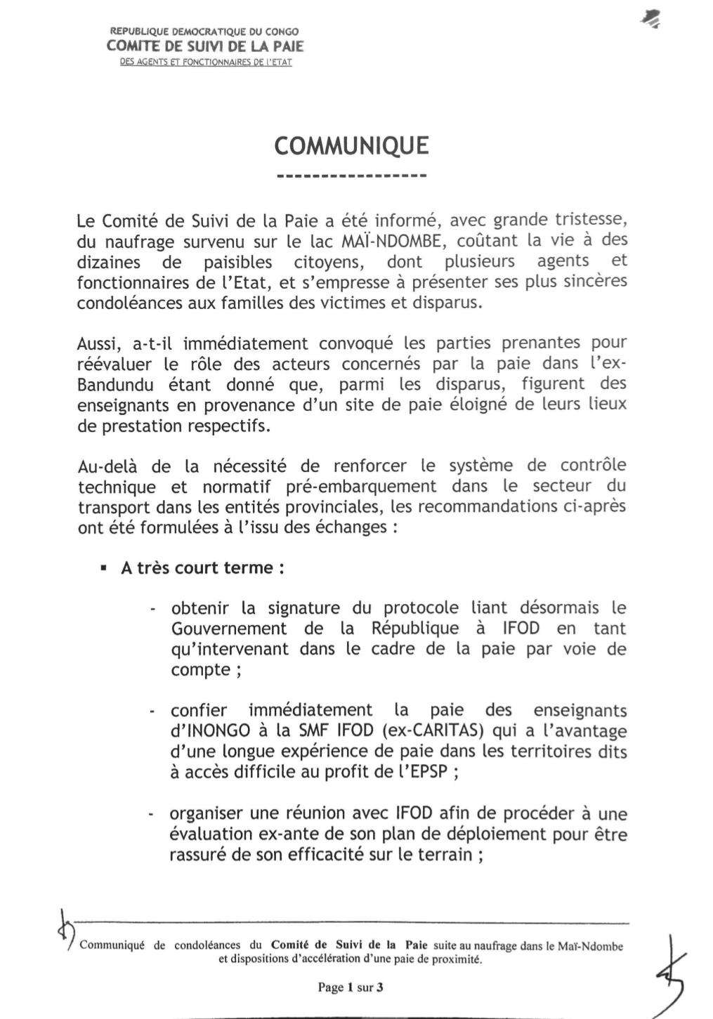 RDC : les dix mesures du Comité de suivi de la paie des agents de l'État ! 2
