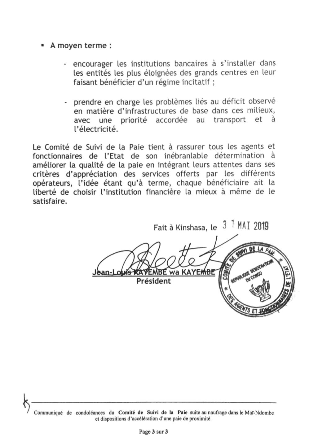 RDC : les dix mesures du Comité de suivi de la paie des agents de l'État ! 4