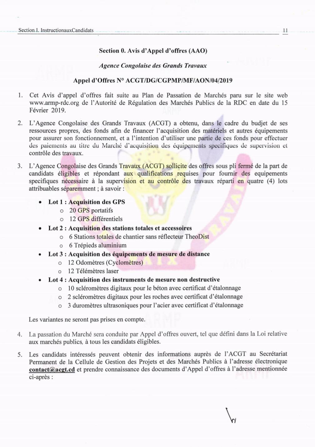 RDC : ACGT lance un appel d'offres pour l'acquisition de ses matériels 2