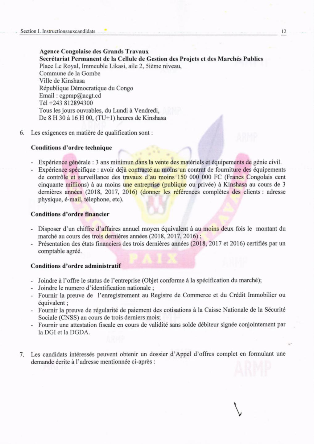 RDC : ACGT lance un appel d'offres pour l'acquisition de ses matériels 3