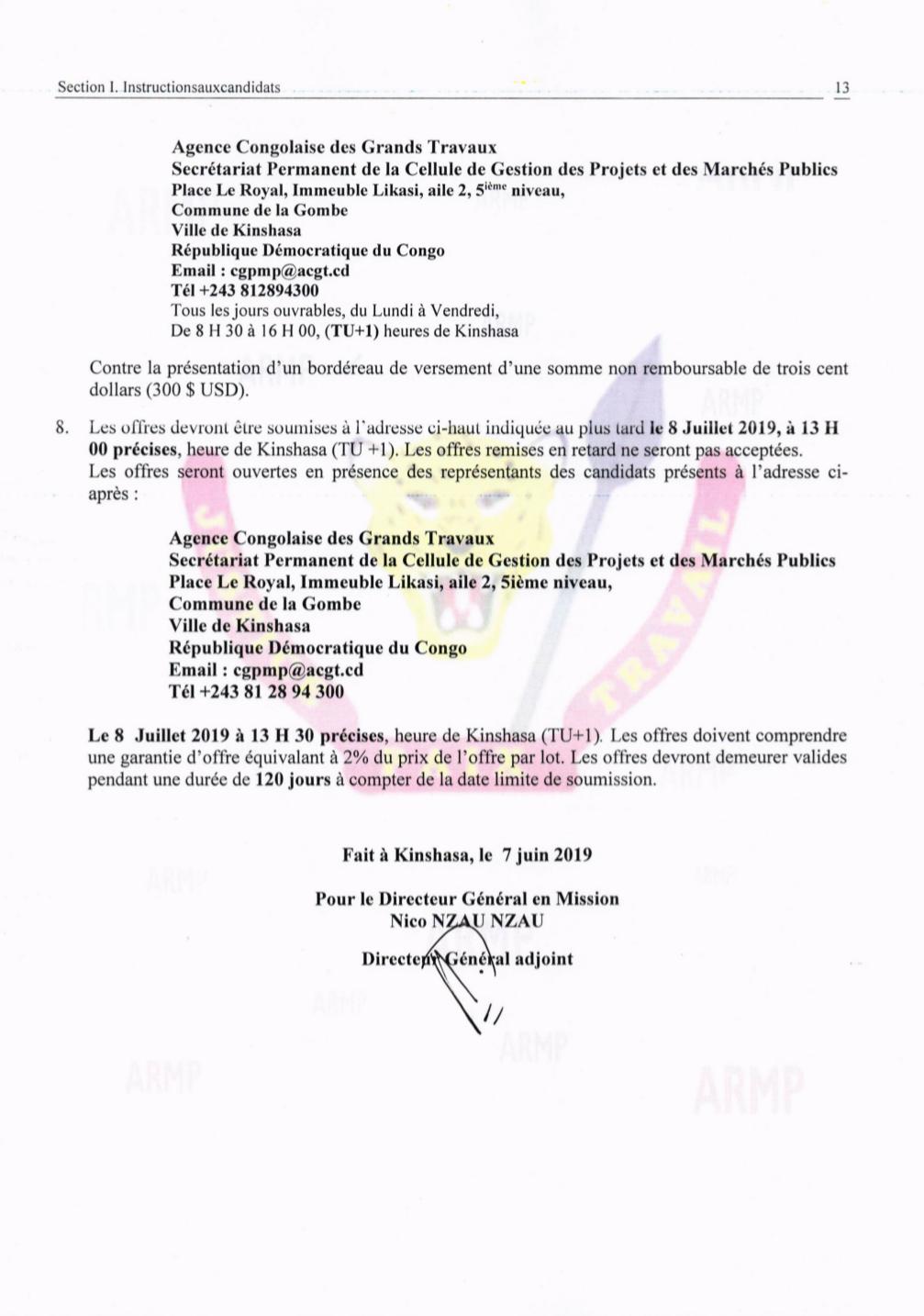 RDC : ACGT lance un appel d'offres pour l'acquisition de ses matériels 4