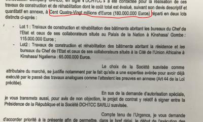 """RDC: scandale autour de l'attribution à """"DCHTCC"""" du marché de construction du Palais présidentiel! 2"""