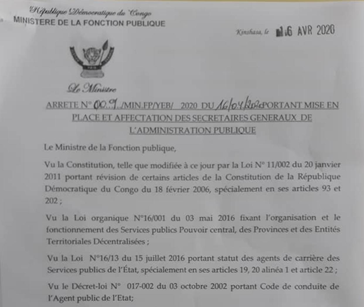 RDC : mise en place et affectation des 58 secrétaires généraux de l'Administration publique (liste) 1