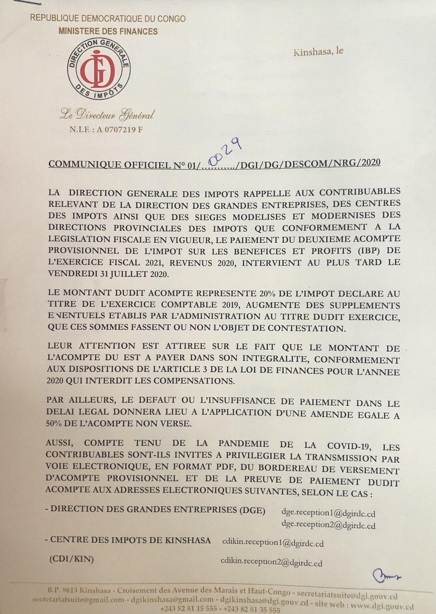 RDC : la DGI invite les contribuables à s'acquitter du paiement de l'IBP au plus tard ce 31 juillet 2020!